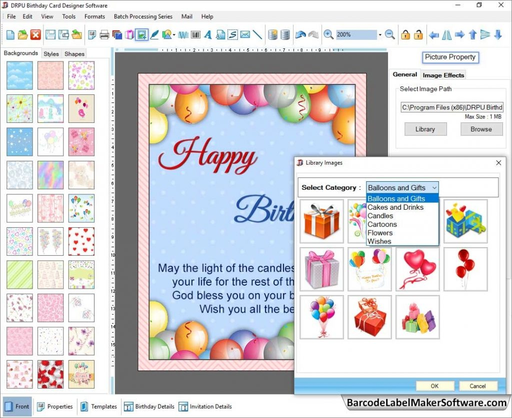 birthday card maker software generates photo birth day cards