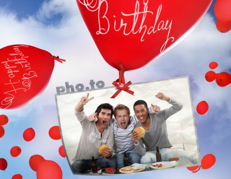 birthday card with flying balloons printable photo template