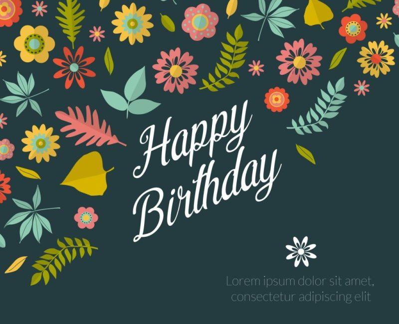 birthday floral card maker editable design