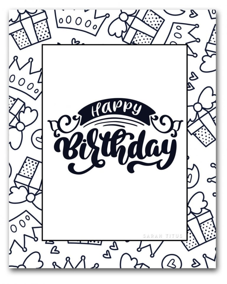 coloring pages coloring pages birthday card page printable