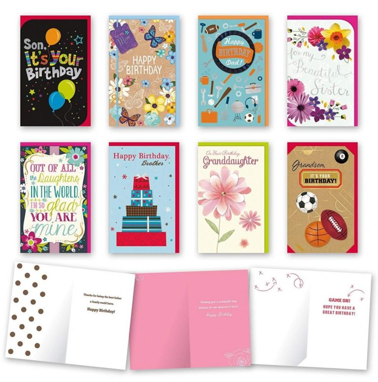 details about assorted family birthday cards bulk card set of 8 cards with envelopes large