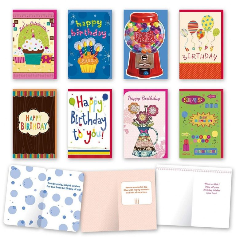 details about assorted general birthday cards bulk card set of 8 cards with envelopes