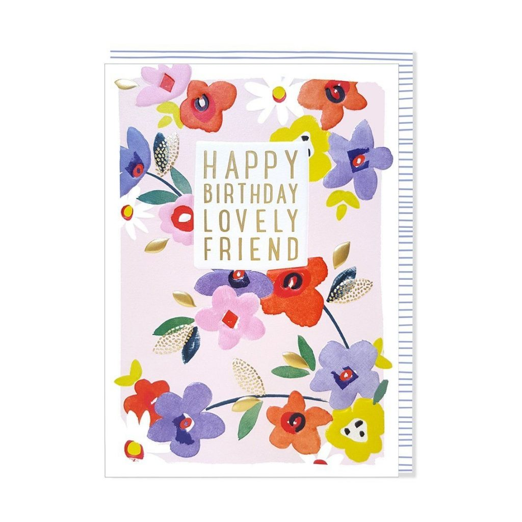 flowers lovely friend happy birthday card