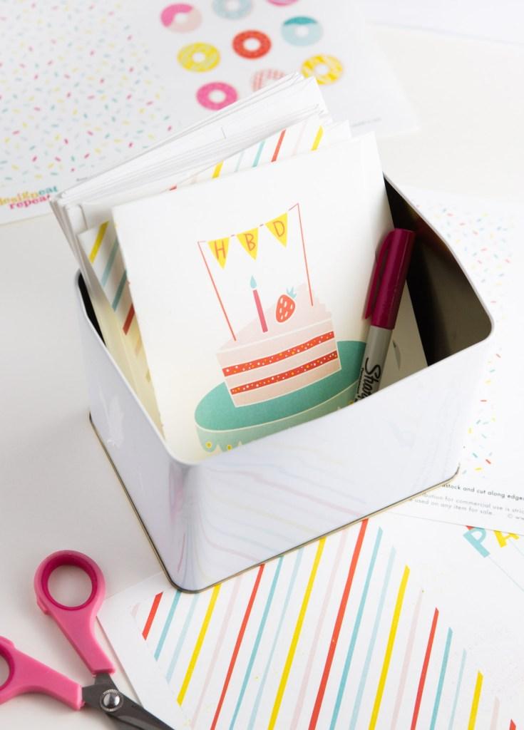 free printable cake birthday card design eat repeat