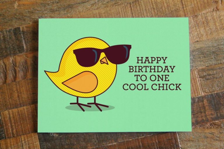 funny birthday card for her happy birthday to one cool chick bird pun bird art card cute birthday card for women mint green yellow sold
