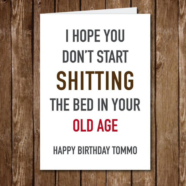 funny birthday card shit the bed ref 127