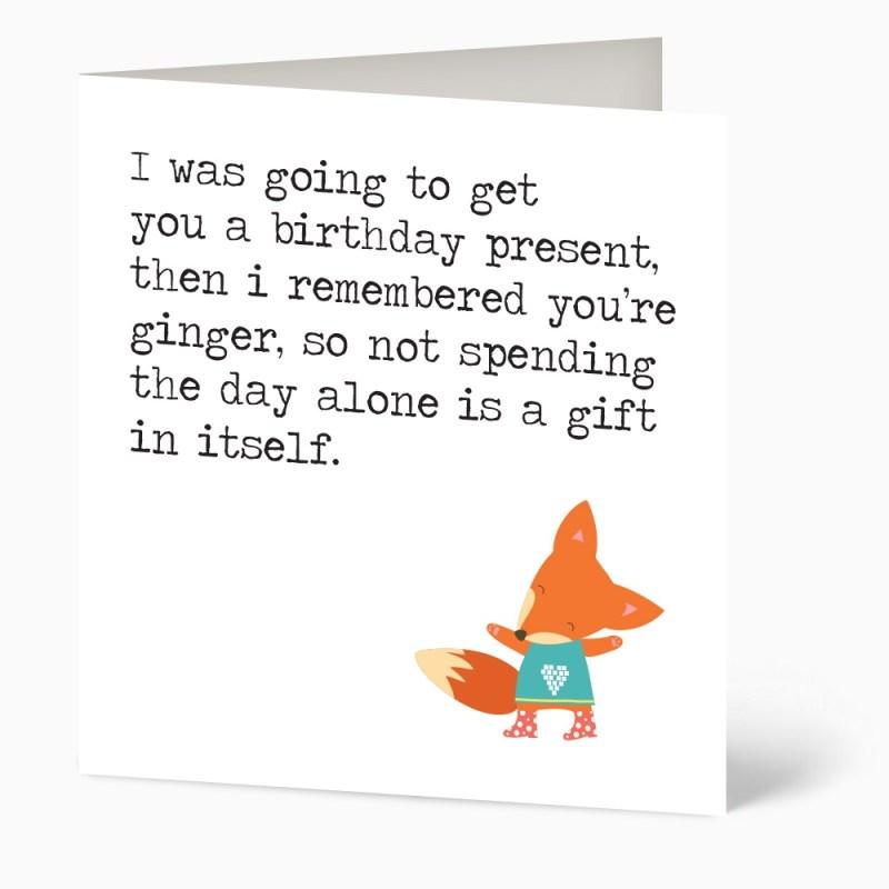 ginger funny birthday card