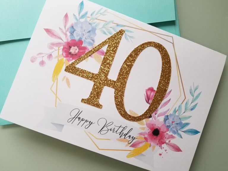 glitter birthday card 40th birthday 40th birthday for her