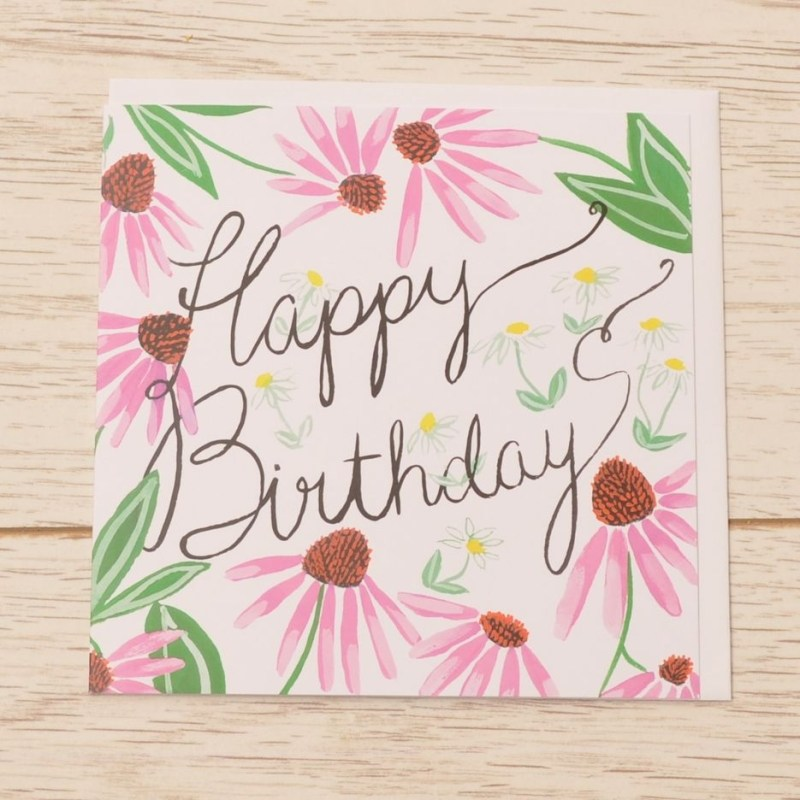 happy birthday card pink daisy