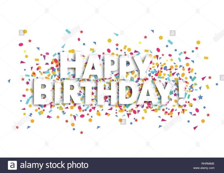 happy birthday card weien text und konfetti vektor