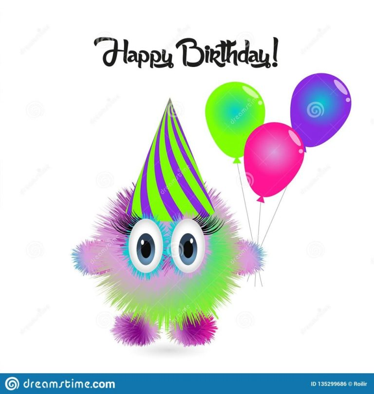 happy birthday card with funny cartoon colorful monster