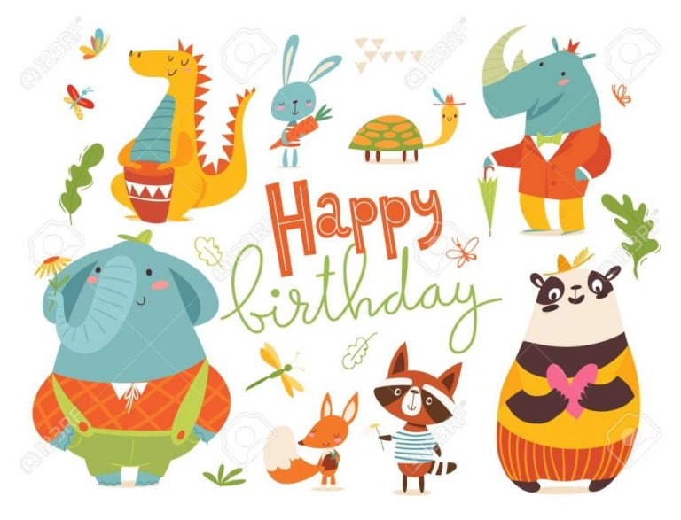 happy birthday card with wild animals cute funny happy animals
