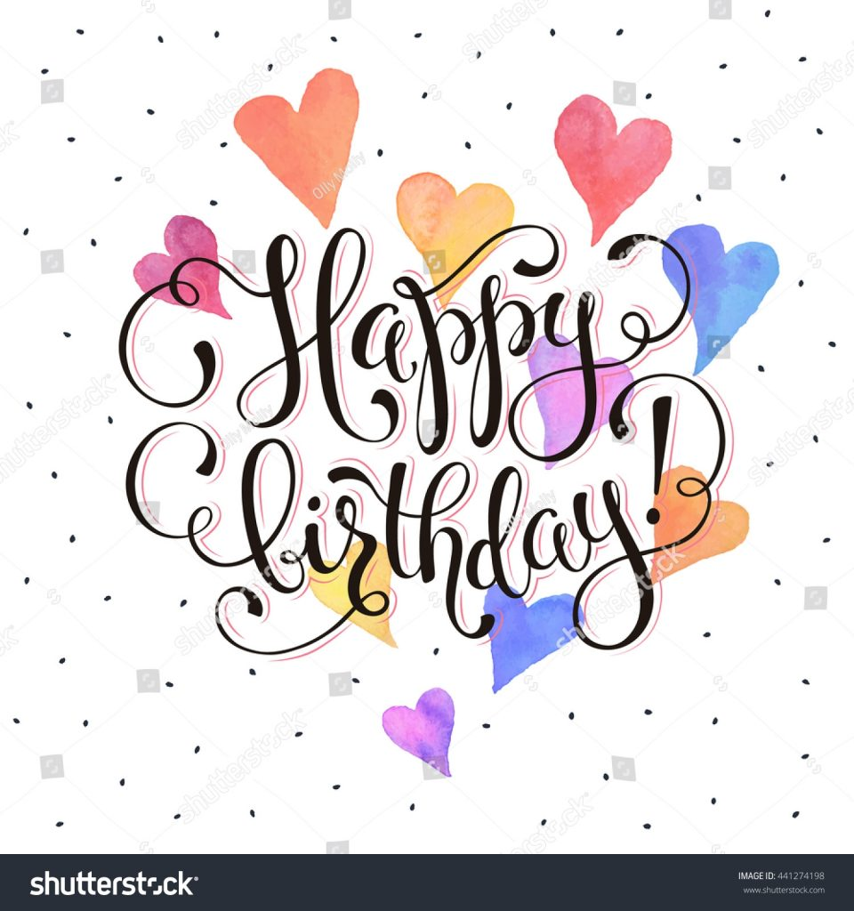 happy birthday greeting card watercolor hearts stock