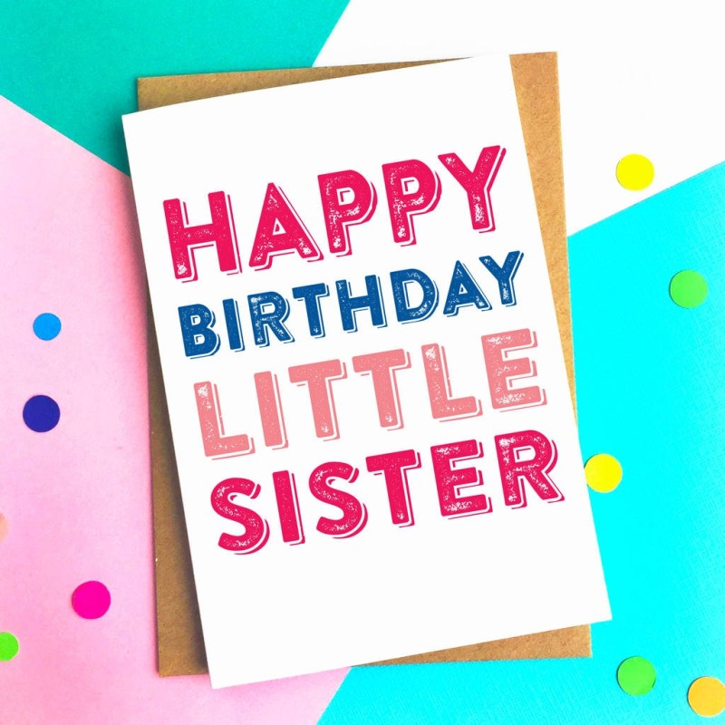 happy birthday little sister greetings card