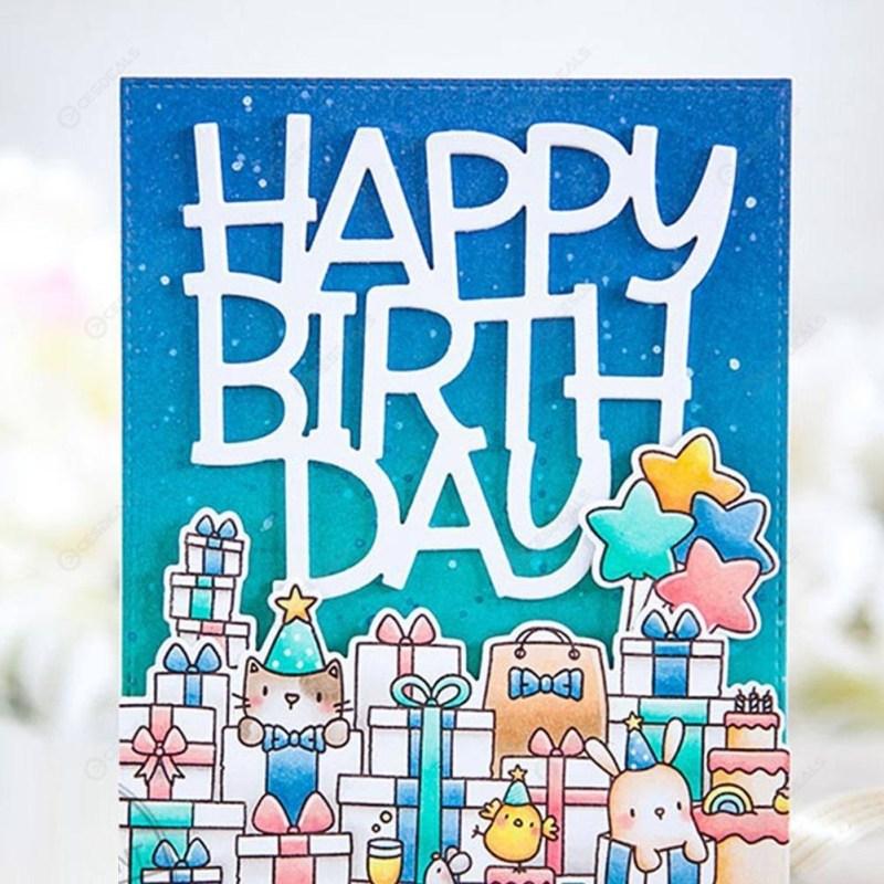 happy birthday metal cutting die fr scrapbooking album card maker template