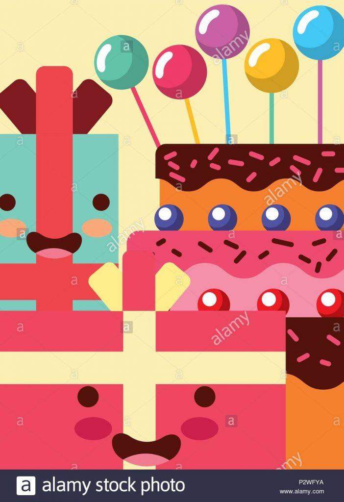 kawaii geschenk cartoon kisten ser kuchen blasen