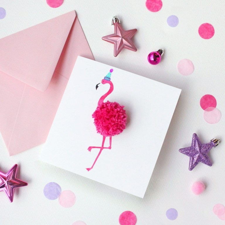 make your own flamingo pom pom christmas card christmas