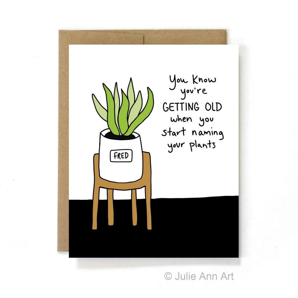 naming plants birthday card drawing watercolor birthday