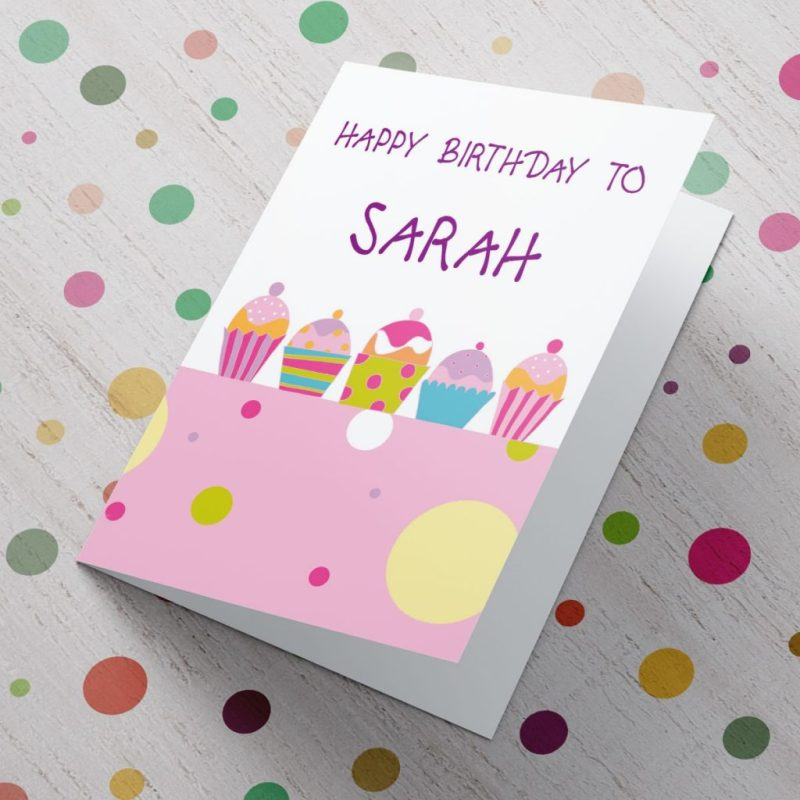 personalised card happy birthday muffins