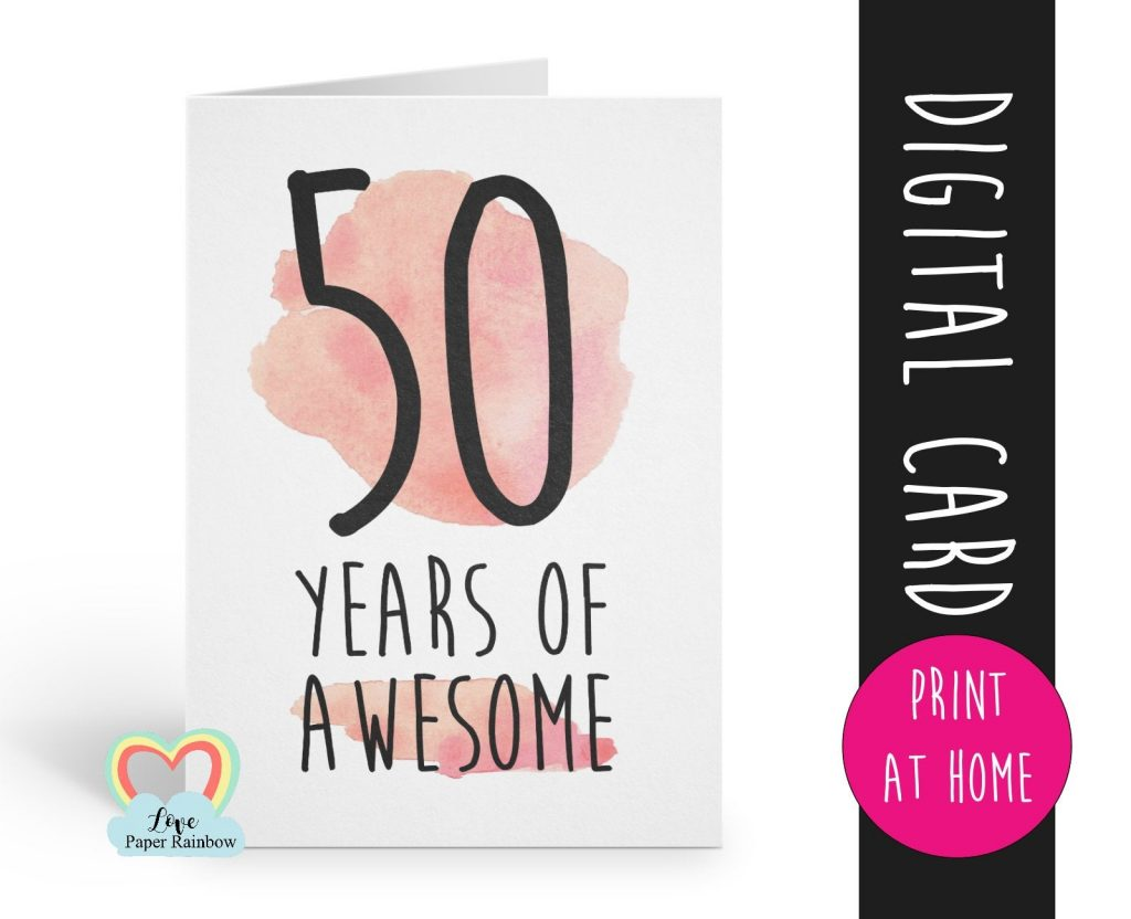 printable 50th birthday card birthday card printable instant
