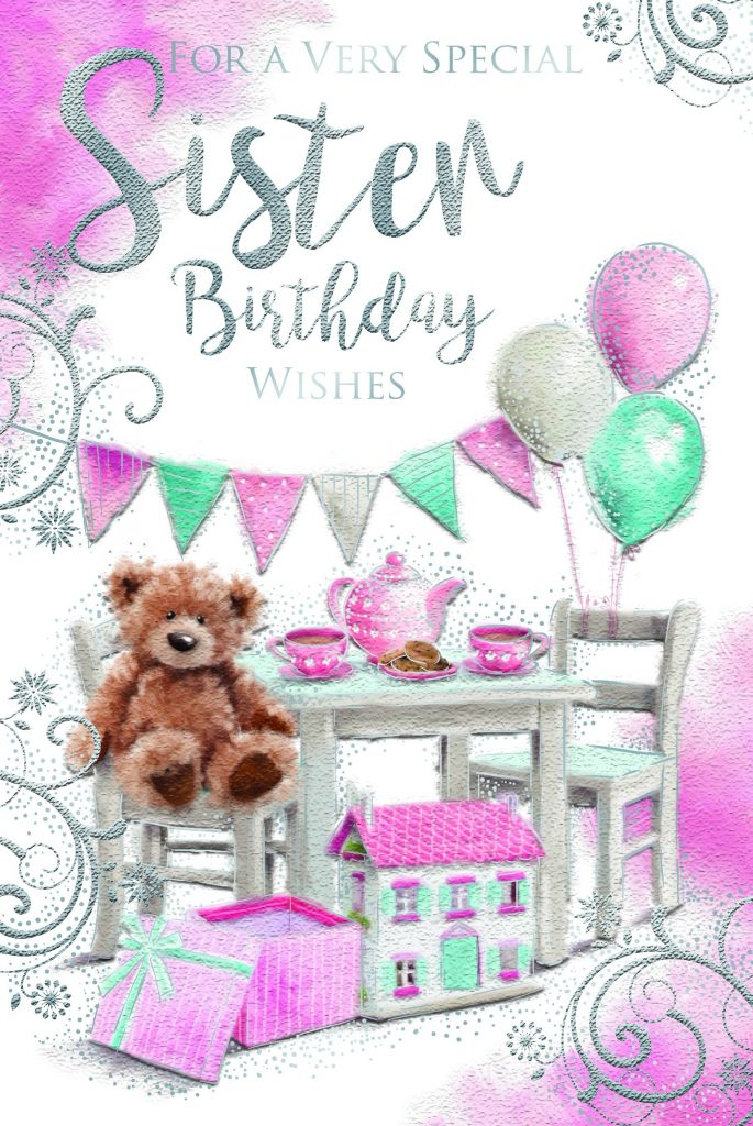 sister bear tea party balloons design happy birthday card lovely verse special days cards