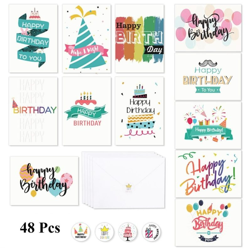 us 1715 47 offpartykindom 48 set durable nice premium bulk greeting cards evelopes birthday cards for families birthday friends in party diy