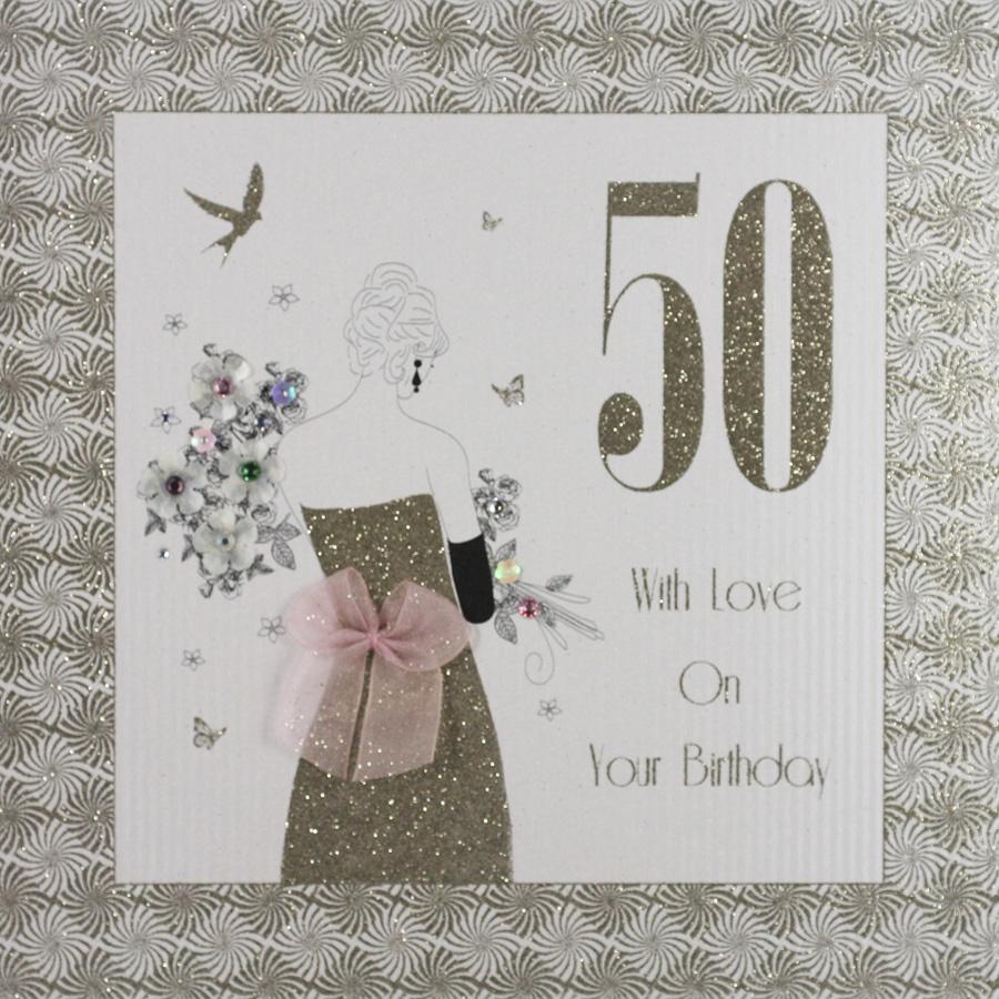 with love on your birthday large handmade 50th birthday card ga7