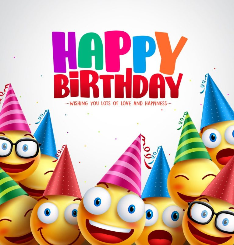woha smiley happy birthday greeting card colorful vector