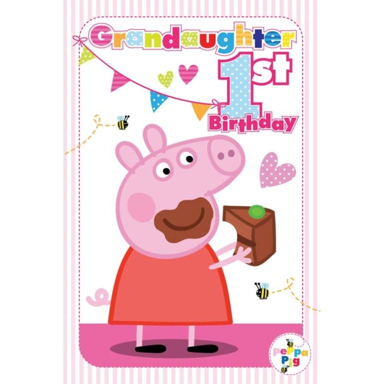 1st birthday granddaughter peppa pig birthday card