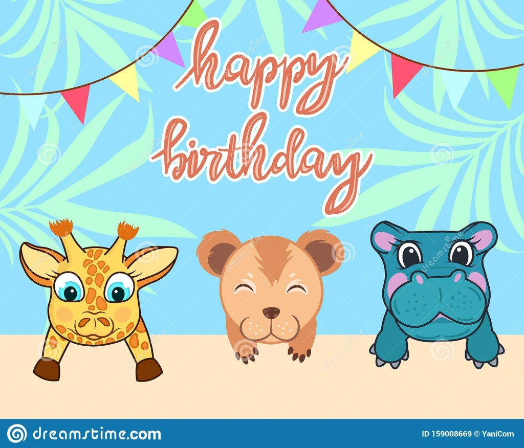 ba animals birthday card cute birthday greeting card with