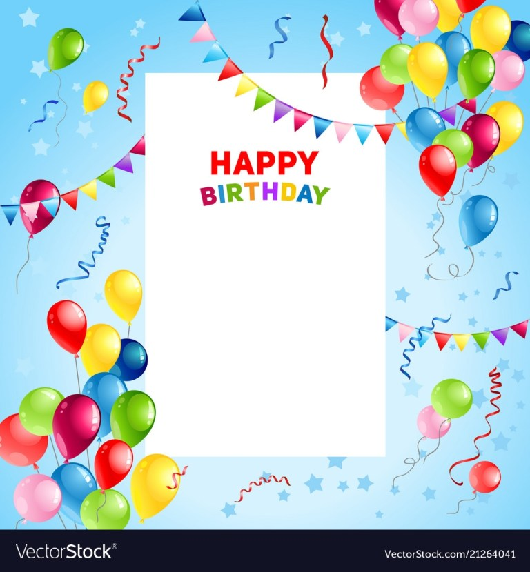 balloons happy birthday card template