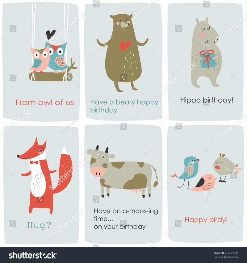 birthday cards cute owls bear fox stock vektorgrafik