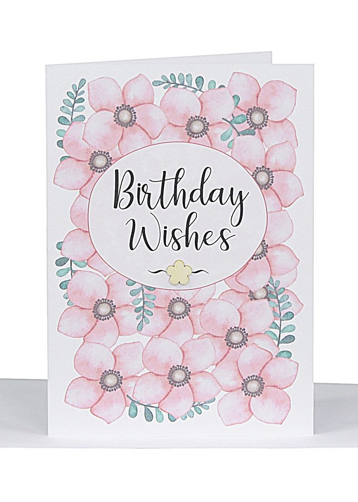 birthday wishes gift card pink flowers bg45