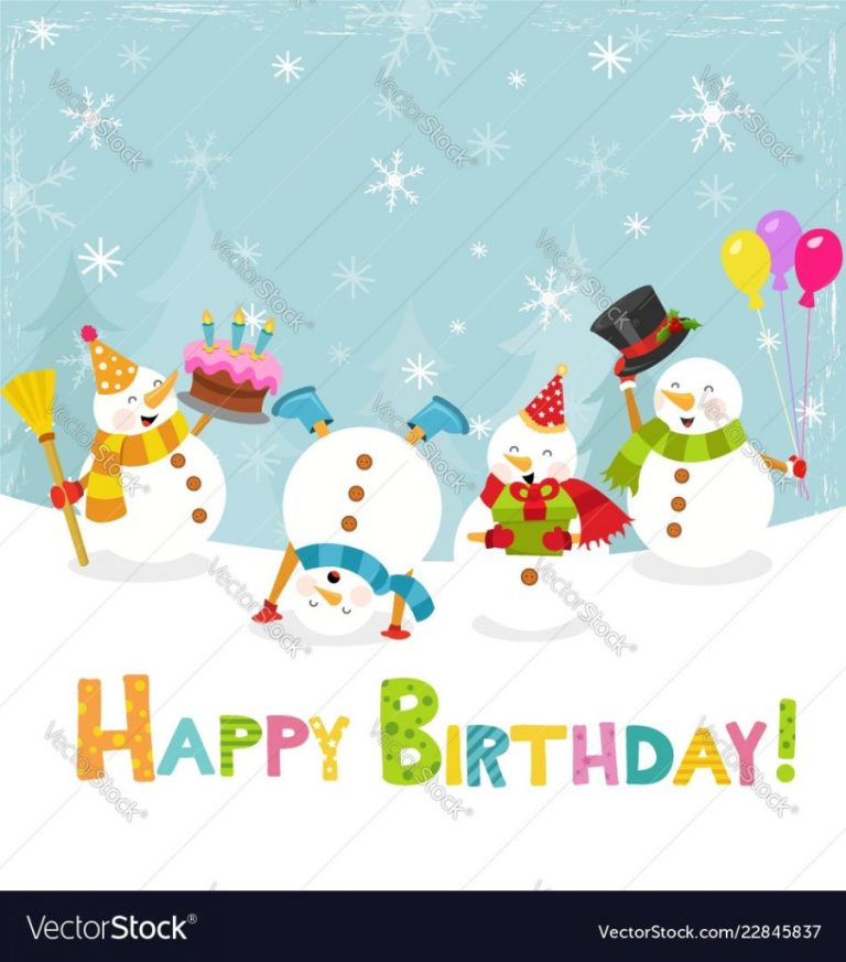 cute birthday card with snowmen