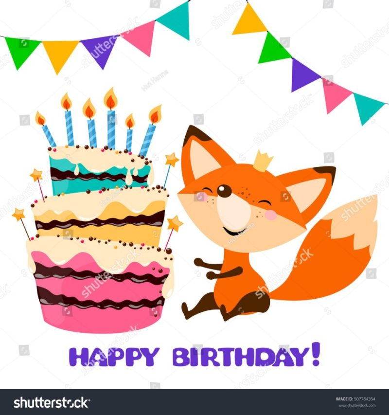 cute fox birthday cake happy birthday stock vektorgrafik