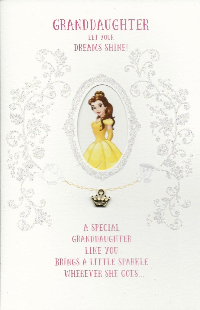 disney princess belle granddaughter birthday card includes magical charm