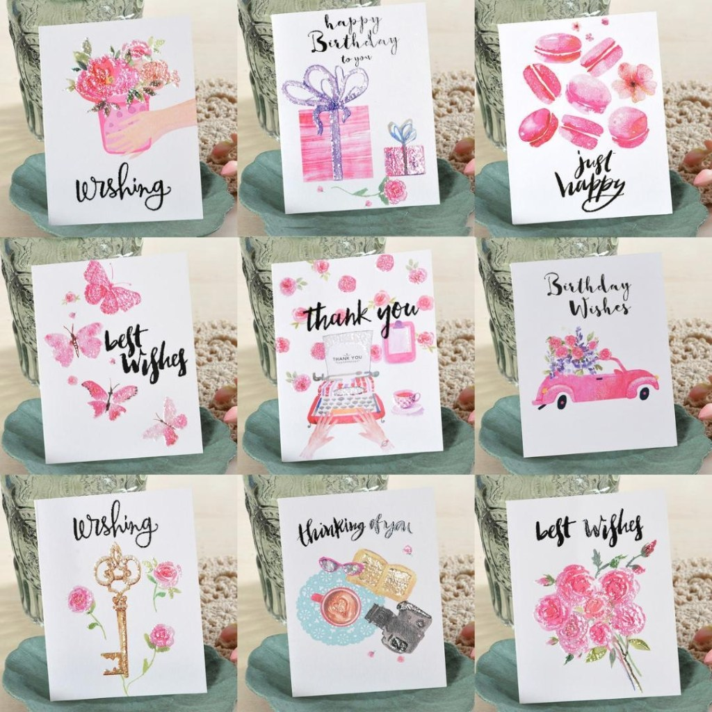 eno greeting watercolor flower mini cards kids birthday cards small wishes thank you