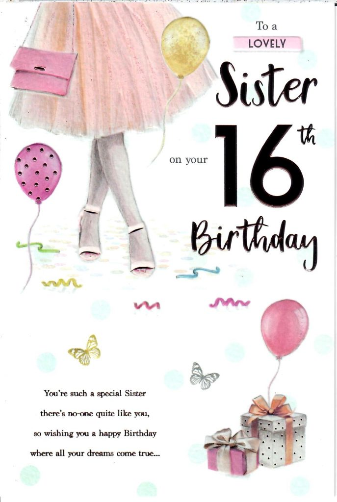 for a wonderful sister on your 16th birthday card