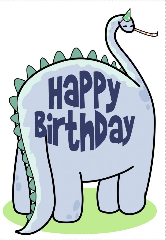 free printable dinosaur greeting card happy birthday