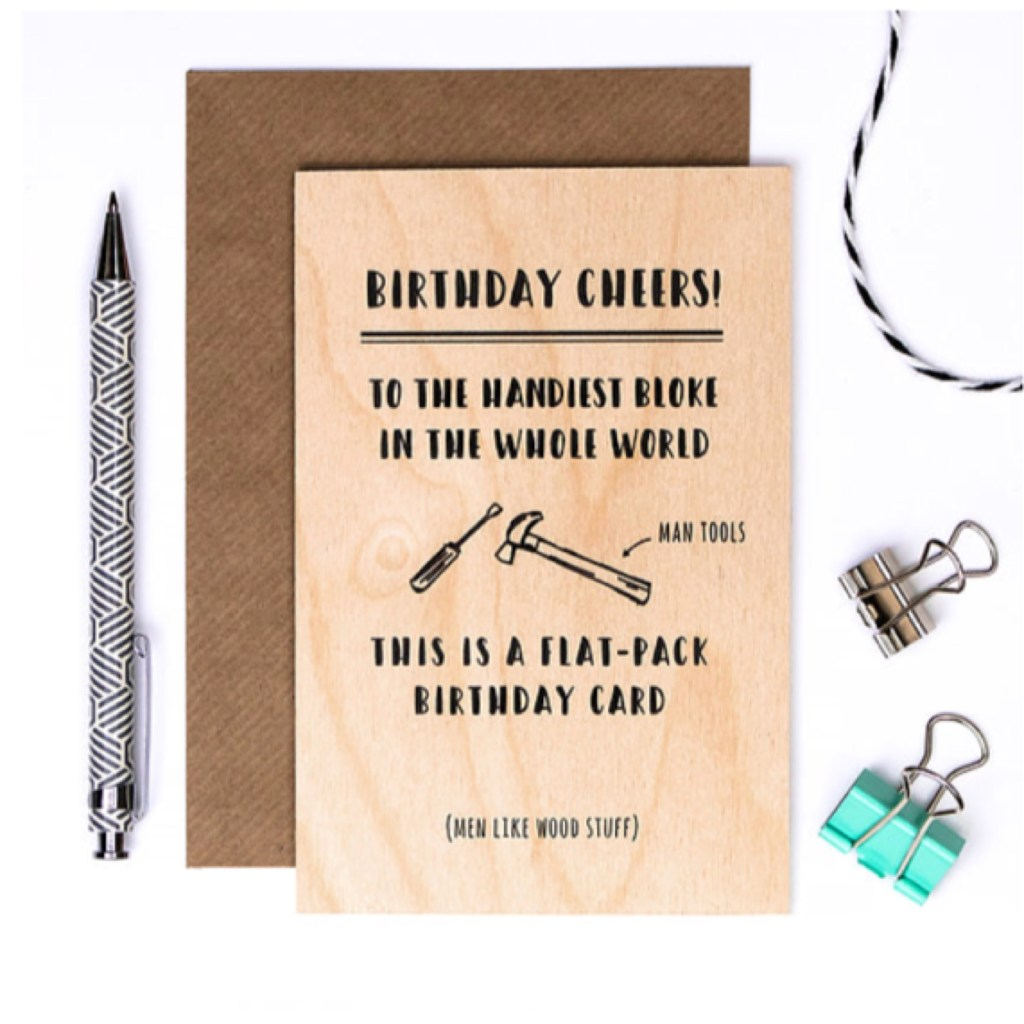 funny wooden birthday card for men tools