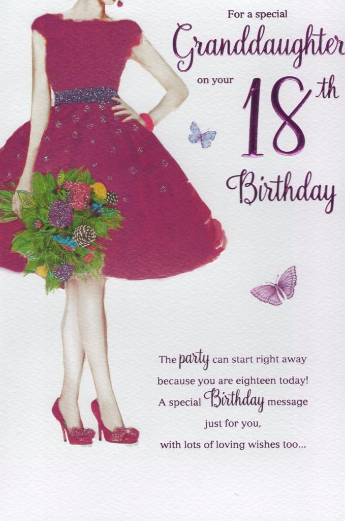 granddaughter 18th birthday card just to say