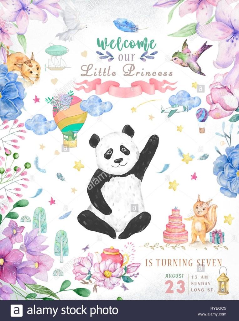 happy birthday card design mit niedlichen pandabr und boho