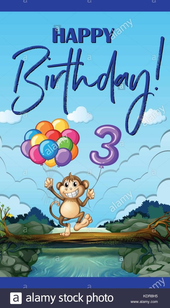 happy birthday card fr drei jahre alte abbildung vektor