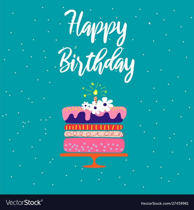happy birthday card template with cake and