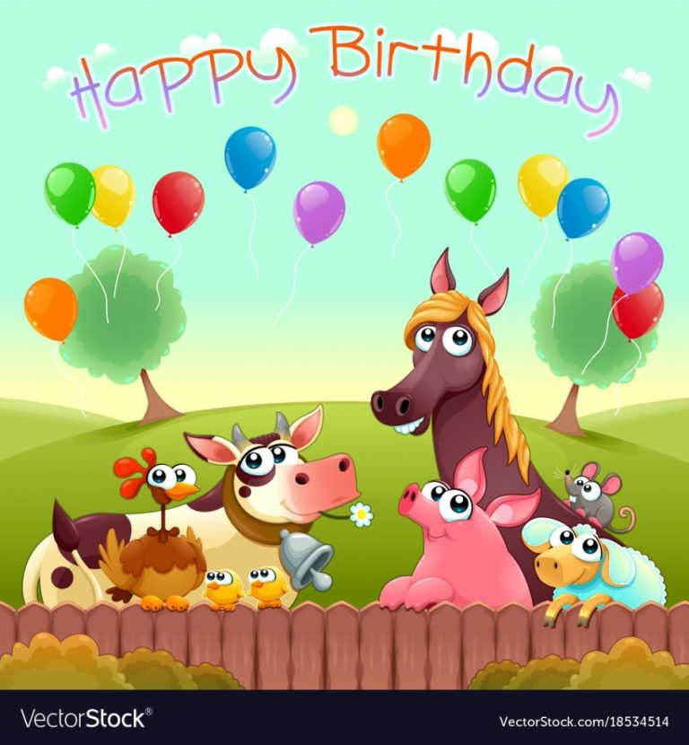 happy birthday card with cute farm animals