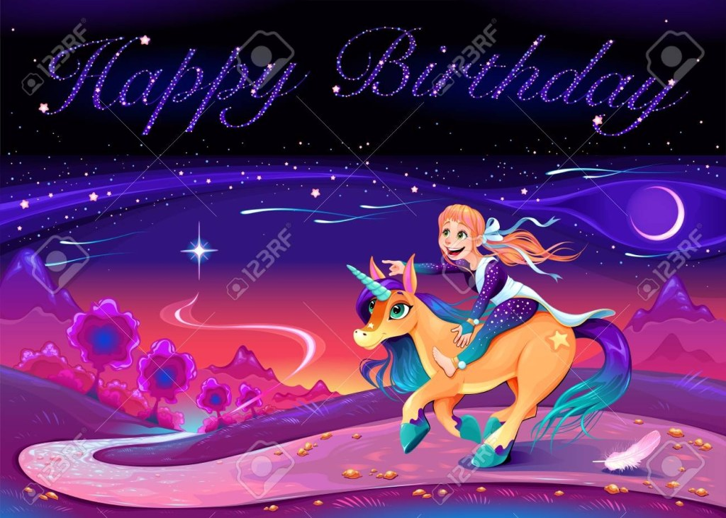 happy birthday card with girl riding the unicorn vector cartoon
