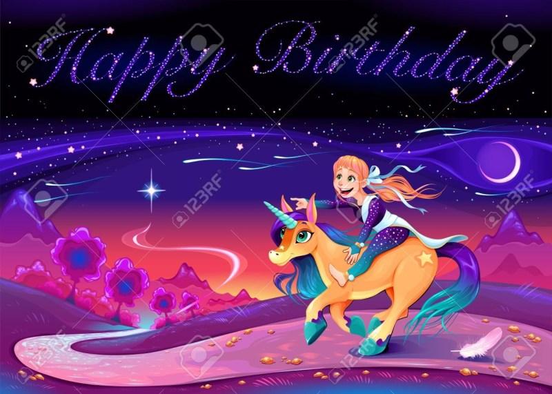 happy birthday card with girl riding the unicorn vector cartoon