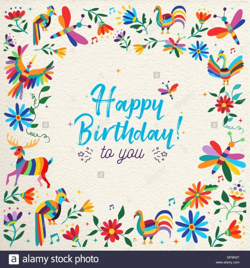 happy birthday design with colorful otomi style spring