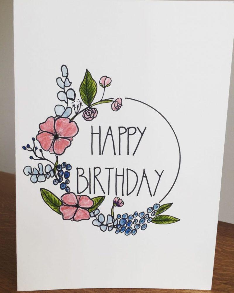 happy birthday flowers birthday card drawing happy
