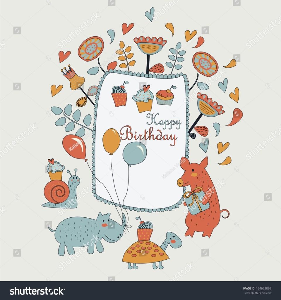 happy birthday greeting card cute snail stock vektorgrafik